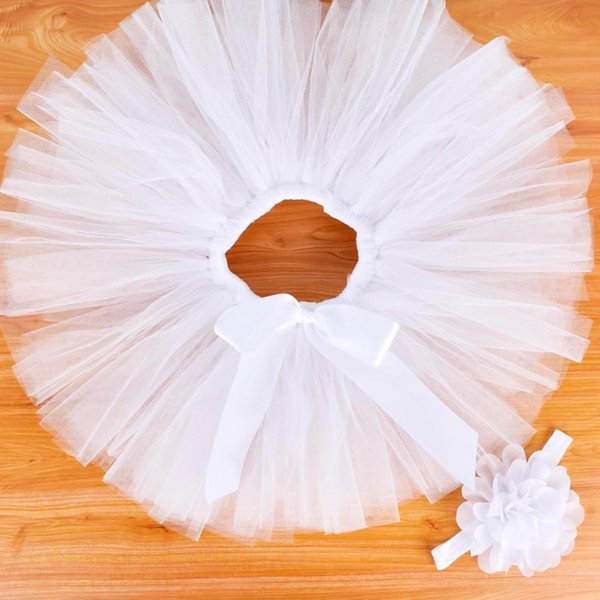 Pure White Baby Girls Tutu Falda Diadema Conjunto Recién Nacido Foto Prop Infant Fluffy Baby TUTU Traje Tutus Recién Nacido Para 0-12 M