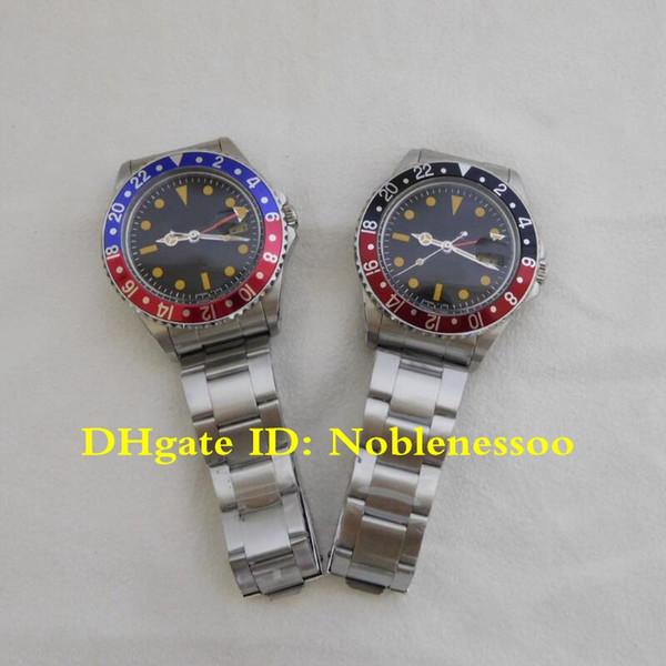 3 Color Men's Vintage Watches Gmt-Master Pepsi Auto 70's Black Dial Blue Bezel Edition R-GMT Ref.1675 2813 Men Automatic Watch