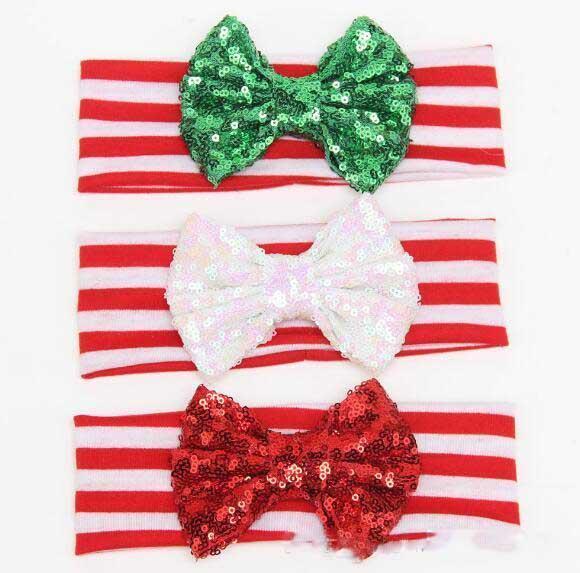 2019 christmas baby girls glitter headbands green red sparkle babies santa hair accessories children x'mas headband kids toddler hair band