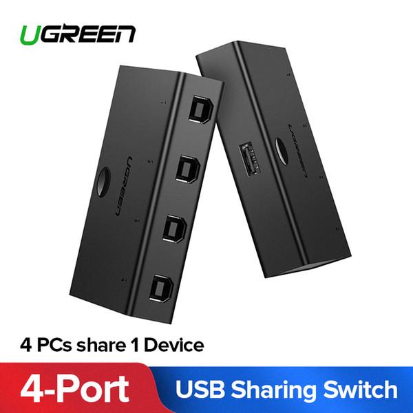 Ugreen USB 2.0 Switch 4 PCs//2 PCs Sharing 1 Device 4//2 Ports KVM Switch Adapter
