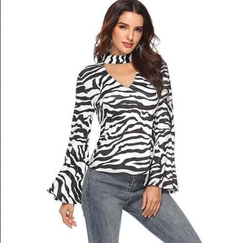 High quality halter tops long sleeve t shirt Sexy high-necked flared sleeve blouse for women wholesale