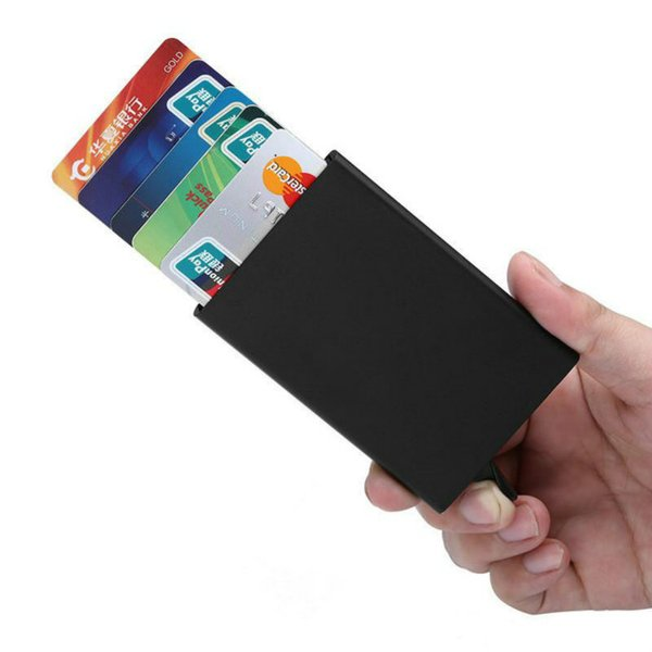 New Automatic Card Holder Case Bags Men Pop Up Business Card Pack Aluminum Alloy Portable Male Metal Passport ID Card Wallet