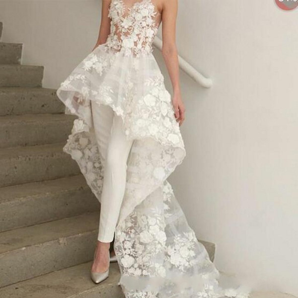 New Sexy Bohemian White Jumpsuits wedding dresses Long Train 2019 Zuhair Murad Sweetheart Lace 3D Floral Appliques bridal wedding gown