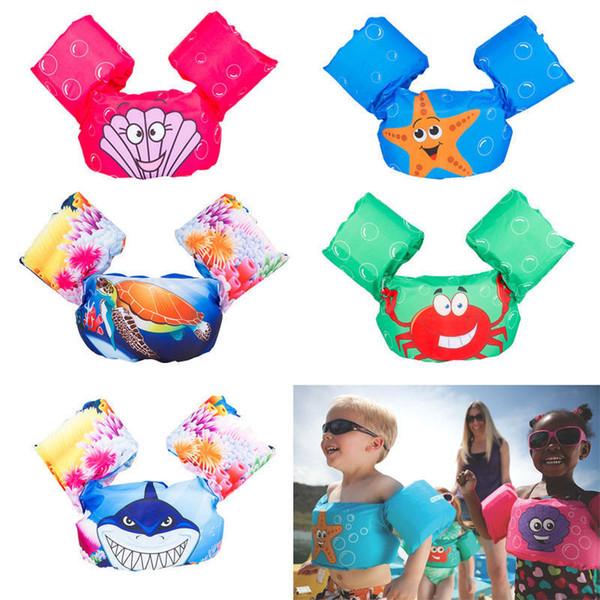 Natación de verano Chaleco salvavidas Infantil Portátil Inflable Bandas de ayuda Piscina Flotador Anillo de inflado Espesar PVC Manga flotante