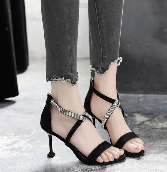 High-grade sandals female summer sexy open toe cross straps stiletto black cat heel shoes Korean version of the wild high heel bag with