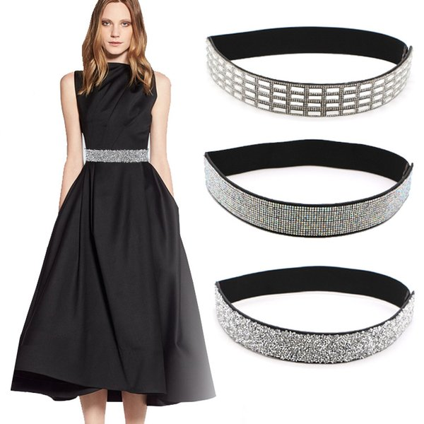 fashion belt for woman fashion bling handmade rhinestones inlaid elastic stretch girdle women skirt coat dotted wide belt women