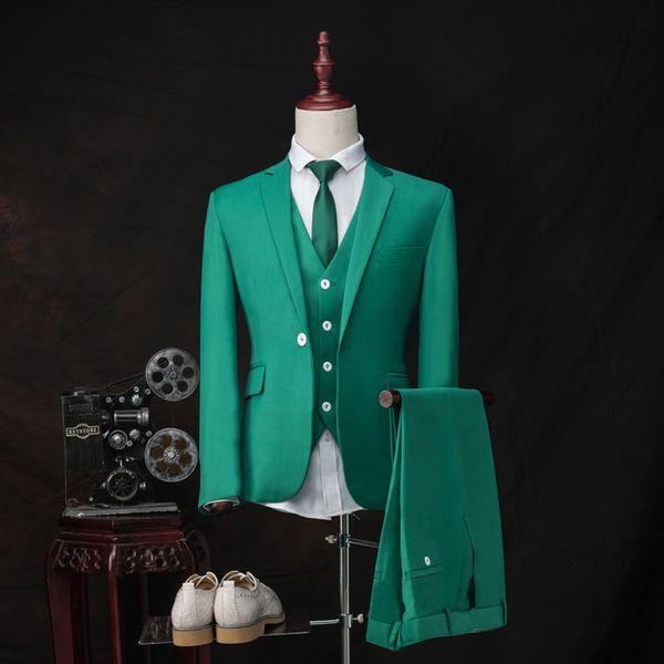 Выполненная на заказ Зеленый Groom Tuxedos Нотч Мужчины Свадебные смокинги Популярные Мужчины Деловой ужин Пром Blazer Костюм (куртка + брюки + Tie + Vest) 1085