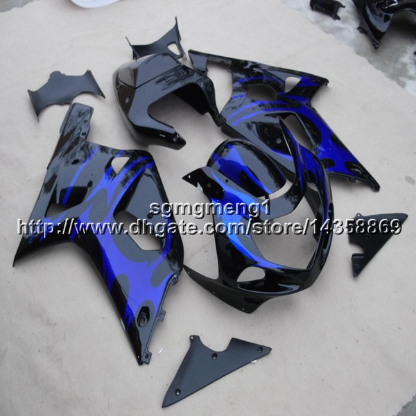 Botls+Gifts blue flames motorcycle cover for Suzuki GSX-R600750 01 02 03 GSXR750 2001 2002 2003 ABS Plastic motor Fairing