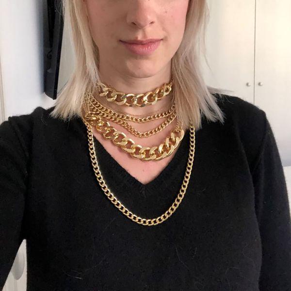 Bls-milagre Colar 2019 Novo Para As Mulheres Menina Cor De Ouro Multi Camada de Alumínio Grosso Cadeia Chunky Colar de Jóias Por Atacado