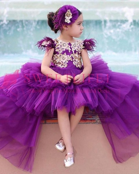 2019 New Purple Gilrs Pageant Dresses Cape Sleeve Feather Hi Low Ruffles Tiered Skirts Tulle Flower Girls Dresses Custom Made Hot Sale