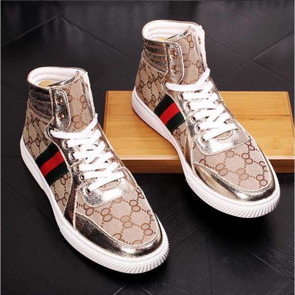 Britische Mode Top High Men Sneakers Luxus Designer Casual Männer Stiefel Mode Frühling Herbst Kleid Business Schuhe W224