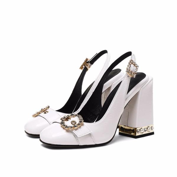 2019 Moda Sandálias de Salto Alto Mulheres Sandálias Slingback Fivela Alça de Escritório Elegante Pérola Sólida Cristal Sapatos de Festa de Casamento