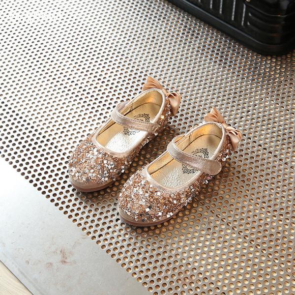 QGXSSHI Nouveaux Enfants Princesse Paillettes Sandales Enfants Filles Chaussures Molles Chaussures Antidérapantes Robe À Talons Bas Partie Robe Rose / Argent / Or