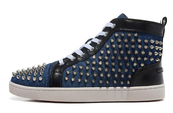2019 homens mulheres ladys gils partido baile alta sapatos casuais preto azul cravejado Spikes designer sapatos baixos