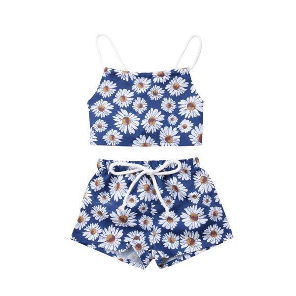 Nouveau-né mignon vêtements ensemble bébé fille vêtements floraux fleur Crop Tops shorts pantalons infantile vêtements ensemble bébé tenues fille vêtements