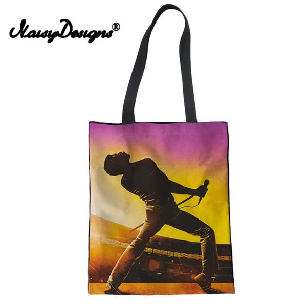 Tuval Bez Çantalar Kadınlar Kraliçe band Bohemian Rhapsody Baskı Omuz Çantaları Bayanlar Katlanabilir Alışveriş Çantası Kız Kitap Damla