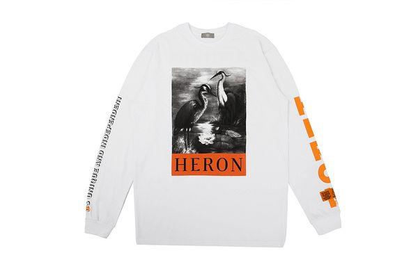 Heron Preston White Heron Impreso Mujeres Hombres Camisetas camisetas Hiphop Streetwear Hombres Camiseta de manga larga
