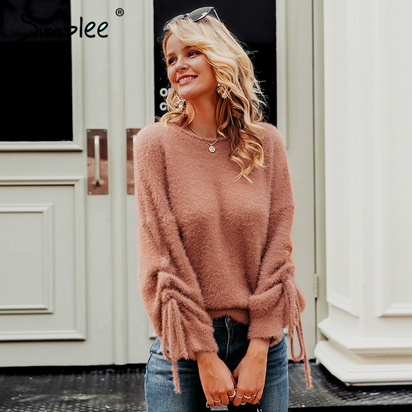 simplee o-neck soft mohair pullover sweater women drawstring drop sleeve sweaters female  casual streetwear knitted jumpers