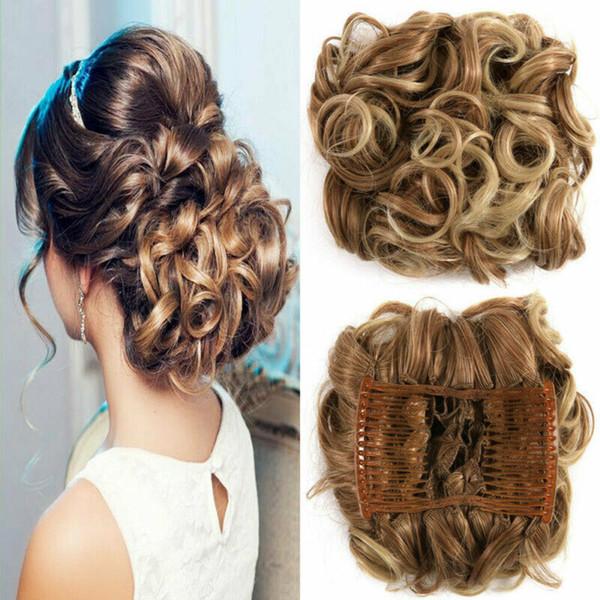 Cuerda de las mujeres elegantes de Scrunchie Sucias moño del bollo mullido banda para el cabello pelo de la extensión sintética Herramientas trenzadoras Styling