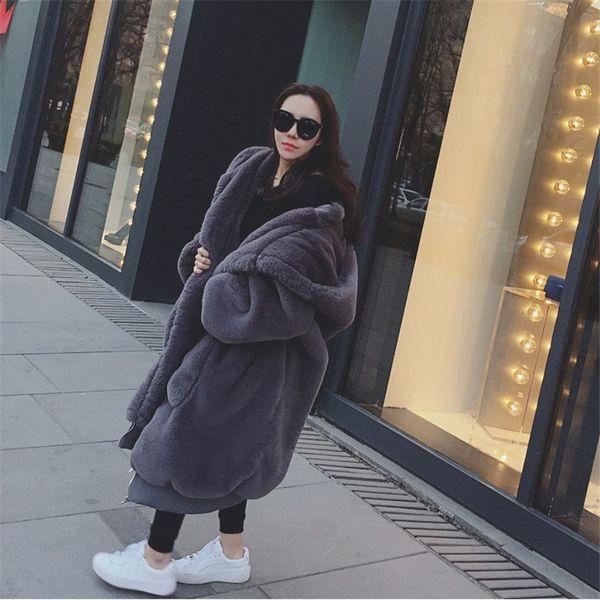 2018 Womens Winter Faux Rabbit Fur Fluffy Teddy Jackets with hood Thick Warm Long Female Teddy Coat Loose Luxury Jacket Outwear