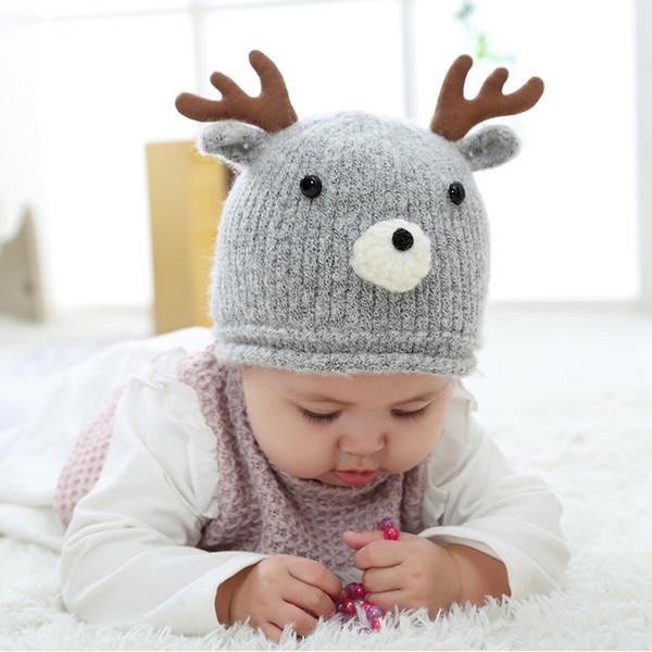 Chapéus de CYSINCOS Crianças Outono Inverno Nova Knit Caps Bebê Lã Forma pequeno Hat Boy Meninas Mão dos desenhos animados gancho Cap Quente Grosso