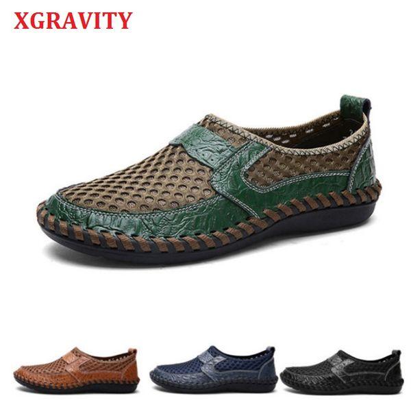 XGRAVITY vente chaude mode loisirs chaussures hommes occasionnels appartements maille en cuir homme en plein air Footwears tout apparié chaussures respirantes A197