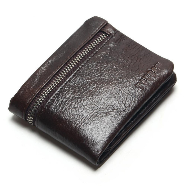 European and American style men's leather short wallet Multi-card zipper wallet leather coin purse atmospheric coffee color clut