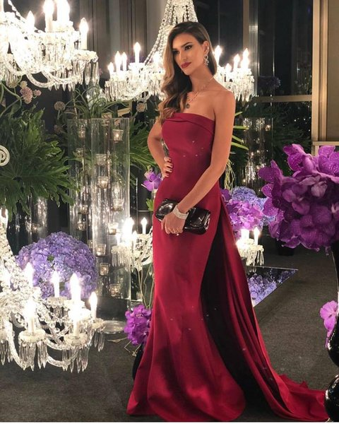 2019 Latest Prom Dresses Strapless Neck with Detachable Train Charming Long Mermaid Evening Wear Sexy Party Gowns Special Occasion Dresses