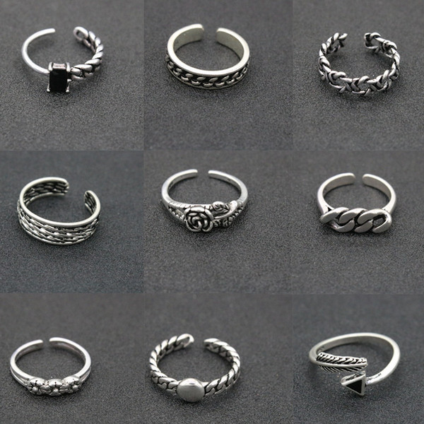 2019 Newly Increased 174 Designs Vintage 925 Silver Rings Adjustable Thai Silver Cross Feather Star Rings For Women &Men Party Jewelry Gift
