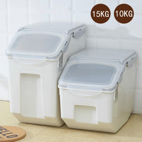 1 PCS 10 kg 15 kg caixa de arroz doméstico com anel de vedação barril de arroz à prova de umidade à prova de insetos cilindro plástico AP11161509