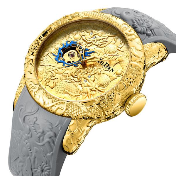 Новые BIDEN Мужские Часы Силиконовый Ремешок Dragon Totem Повседневная Механические Часы Мода Наручные Часы 2 Цвета Бесплатная Доставка