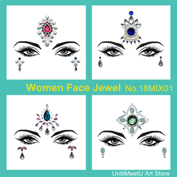Women Glitter Sticker for Party Christmas Eyebrow Crystal Tattoo Face Eyes Sparkling Gems 3D Jewel Body Art Stage Makeup Deco