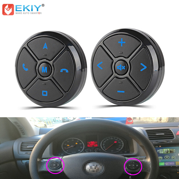 EKIY Car Universal Steering Wheel Control Key Smart Wireless Remote Control Button for Car Navigation DVD Steering