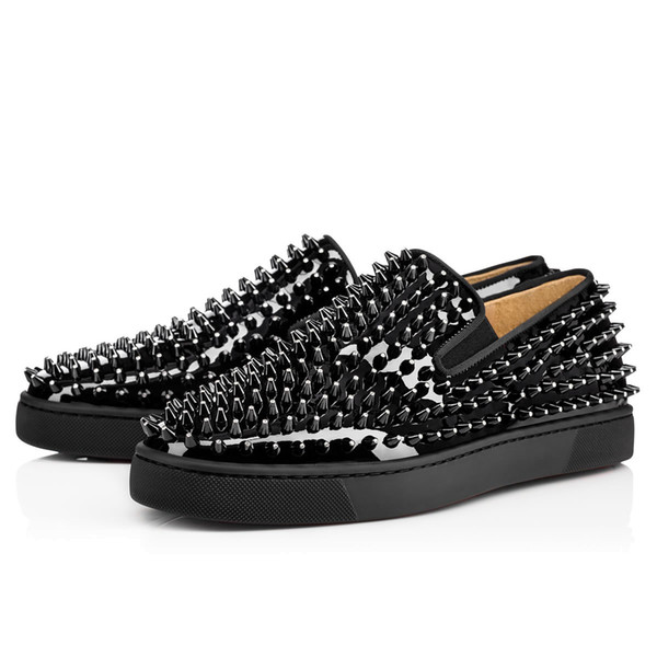 2019 New designer Studded Spikes Flats shoes with flat Bottoms shoes Mens Womens Party Lovers Genuine Leather Sneakers size 36-46 T05