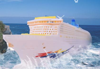 Simulated boat model children's light music cruise ship universal electric toy boat