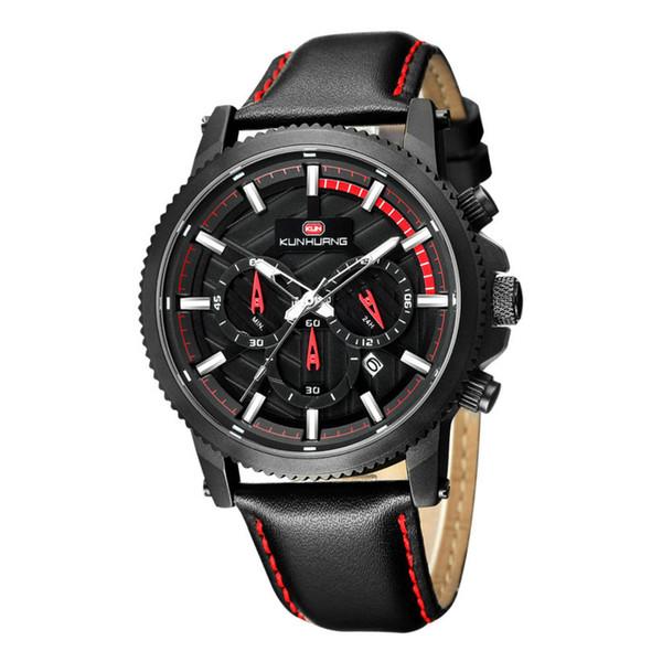 Новые мужские часы многофункциональный механизм световой календарь большой циферблат Кожаный ремешок водонепроницаемый спортивные мужские цифровые часы подарок