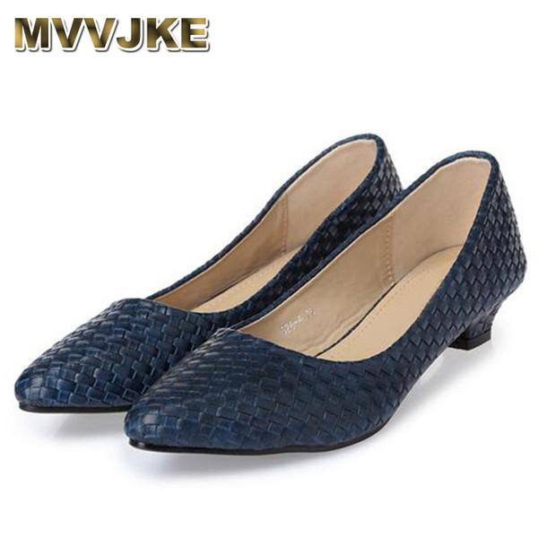 MVVJKENew mode Bureau Dame talons bas Chaussures femme célibataire pompes Automne printemps travail Chaussures pointu toe35-41black blueE226