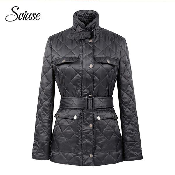 Women Navy Slim Fashion Parkas Winter Black Jackets Coats Zipper Pocket Cotton Wadded Laidies Casual Overcoat female Winter