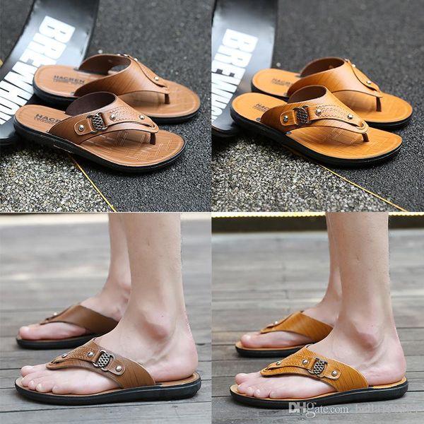 hot sale Designer Mens Sandals Summer Stripped Slippers For Men Leather Flip Flop Summer Hawaiian Beach Rubber Shoe Male Flats Sandals