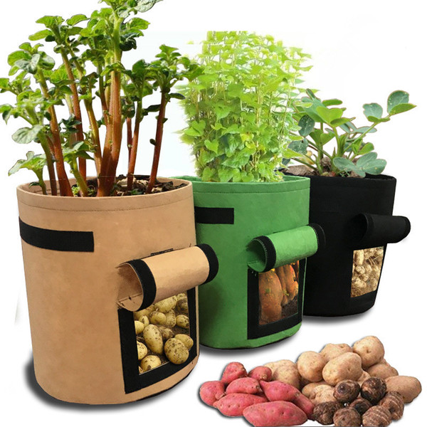 7 Gallons non woven plant bag Tomatoes Potato Grow Bag with Handles Flowers Vegetables Planter Bags Home Garden Planting Accessories