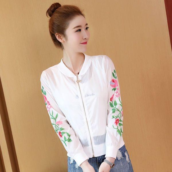 Meninas verão seção fina flor impressão ar condicionado camisa protetor solar roupas jaqueta