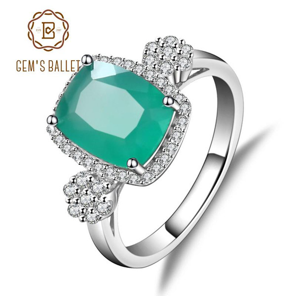 GEM'S BALLET Solid 925 Sterling Silver Green Agate Gemstone Rings Vintage Shiny Classic Engagement Wedding Rings Fine Jewelry S18101002