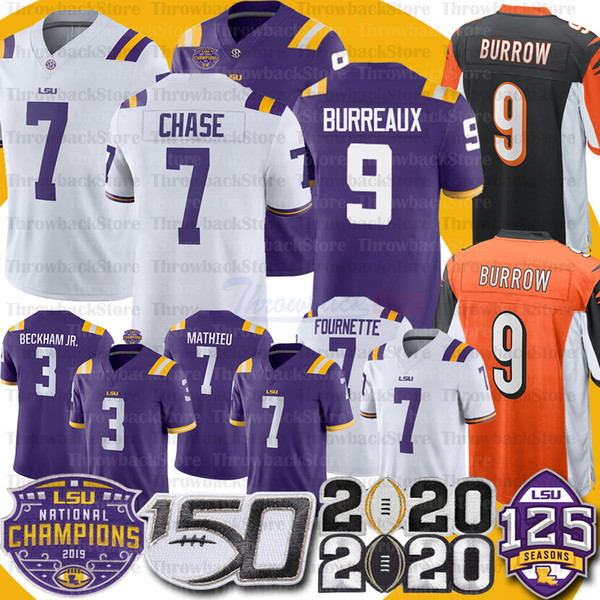 best selling LSU Tigers Joe Burrow Burreaux Jersey JaMarr Chase Leonard Fournette Odell Beckham Jr. Tyrann Mathieu Patrick Peterson Guice Football Jersey