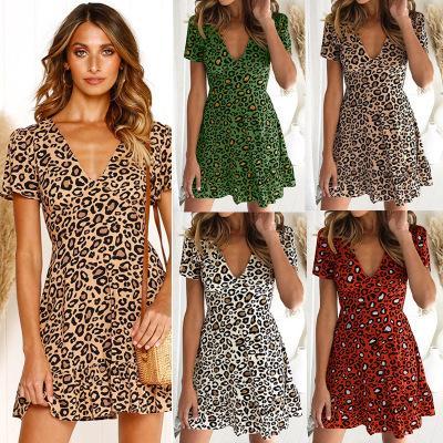 2019 Hot Women Designer Estate Abiti corti Leopard Print V Neck Vintage ra-ra Gonna Ruffle Design Spedizione gratuita Immagine reale