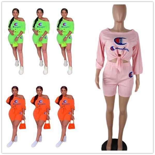 3 цвета Champion Letter Print Спортивный костюм Женщины Лето три четверти рукав футболки + шорты 2 шт. Шорты набор модных нарядов S-3XL A51301