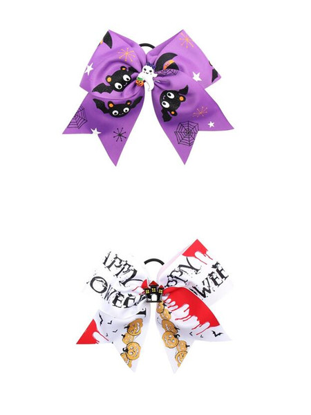 14pcs/lot Halloween 7'' Cheer Bows for Girls Handmade Funny Print Grosgarin Ribbons Hair Rubbr Band Ropes Party Gifts Kids Headwear