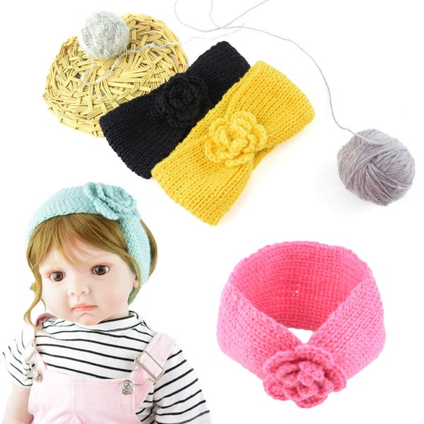 2019 Camelia para niños Flor de pelo Banda trenzada Tocado Bebé Tejido de punto de lana Sombrero de niña Cálido Accesorios para el cabello DHL M20F