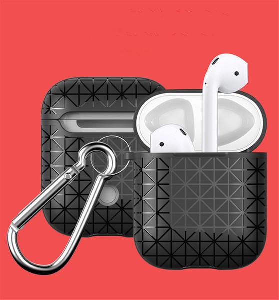 Design de moda tpu silicone macio case para apple airpods à prova de choque bolsa protetora triângulo casos de design com gancho caixa de pacote de varejo