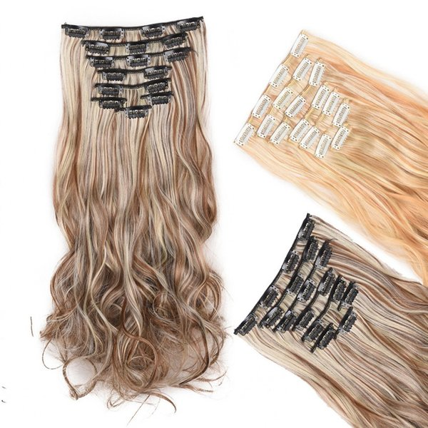 Sara 7 Pieces/Set Full Head Clip in Hair Extensions Curly Synthetic Hair Extention for Women Curly Hair Pieces 45CM,18Inch Hairpieces