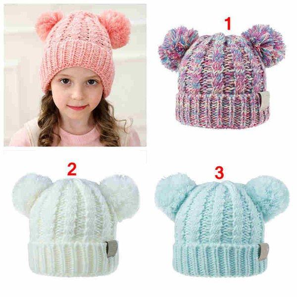 Chapeaux enfants mignons au crochet solide couleur pure bébé filles et garçons tricotant casquettes enfants chapeau chaud d'hiver